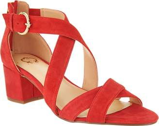 C. Wonder Suede Cross Band Sandals with Block Heel