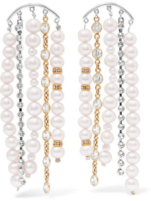 Magda Butrym Narcissus Rhodium-plated, Pearl And Swarovski Crystal Earrings - Ivory