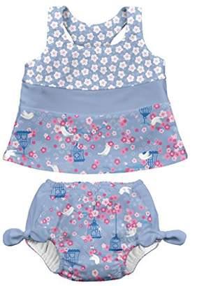 I Play I-Play Tankini Set With Swim Diaper, 12 to 18 Months, Light Blue Songbird