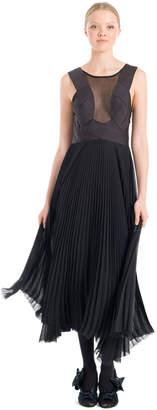 Max Studio pleated chiffon and satin dress
