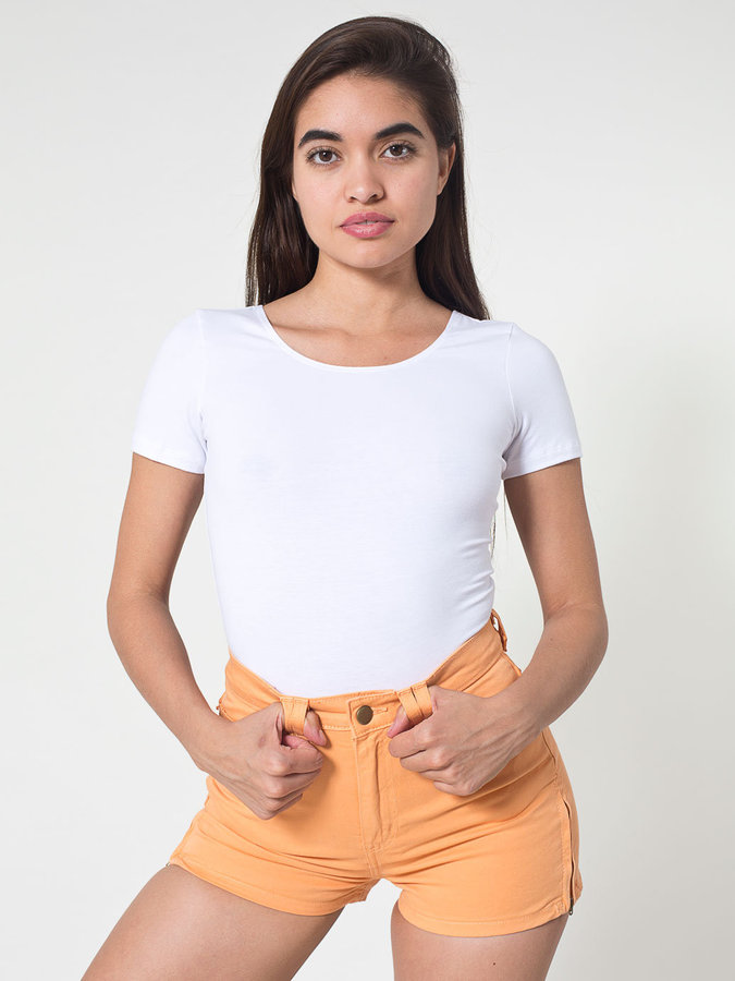 American Apparel Stretch Twill High-Waist Side Zipper Short