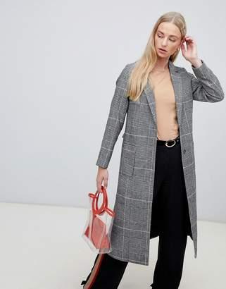 New Look Check Bar Back Maxi Coat