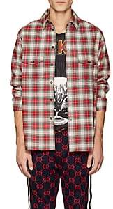 Gucci Men's Snake Wreath Plaid Cotton Shirt - Red