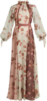 Luisa Beccaria Floral-print ruffled-neck panelled silk gown