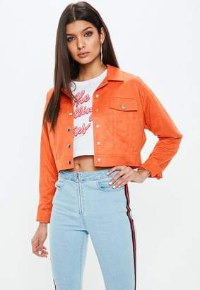 Missguided Petite Orange Suedette Trucker Jacket