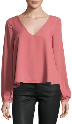 Lucca Couture Long-Sleeve Crisscross-Detail Top, Light Pink $35 thestylecure.com
