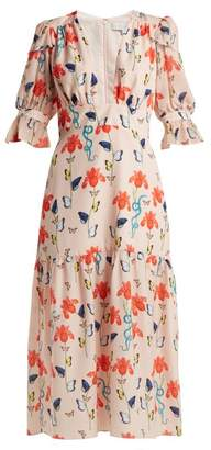 Borgo De Nor - Dhalia Floral And Firefly Print Crepe Dress - Womens - Nude Multi