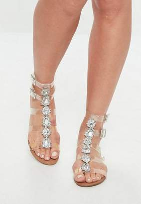 Missguided Clear Jewelled Gladiator Sandals