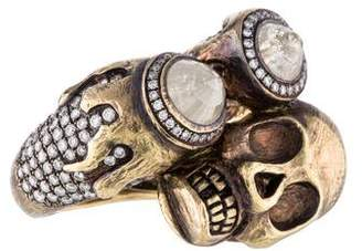 Ring Skull & Diamond Crossover