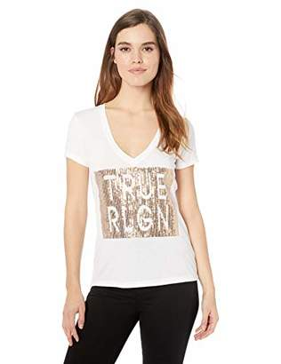 True Religion Women's Sequin Short Sleeve Tee