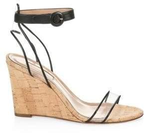 Aquazzura Women's Minimalist Cork Wedge Heels - White - Size 35 (5)