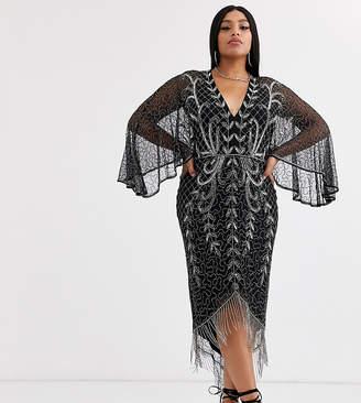 Asos DESIGN Curve kimono midi dress with delicate beaded embellishment
