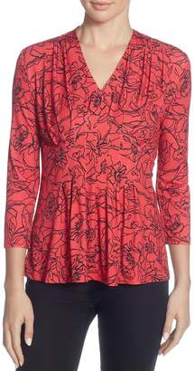Catherine Malandrino Rea Pleated Floral Top