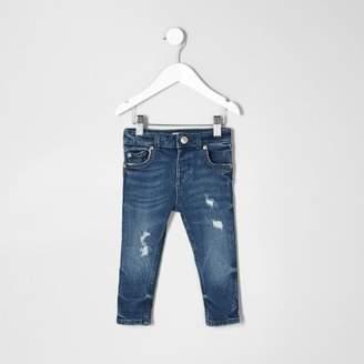 River Island Mini boys blue distressed Sid skinny jeans
