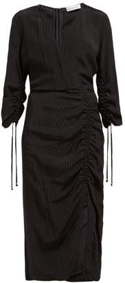 Altuzarra Orianna Striped Gathered Seersucker Dress - Womens - Black