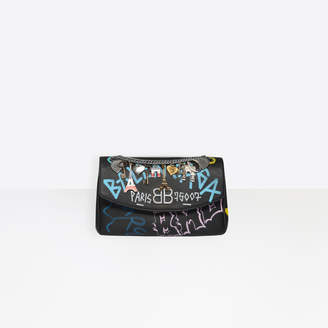 Balenciaga Small graffiti print bag with chain strap