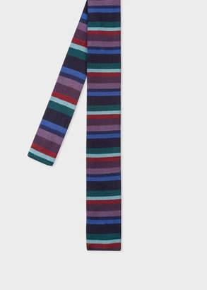 Paul Smith Men's Navy Stripe Knitted Silk Tie