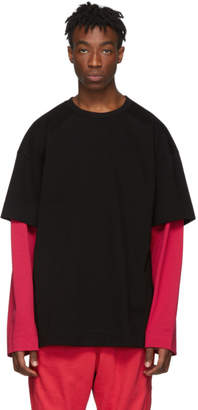 Juun.J SSENSE Exclusive Black and Red Layered Long Sleeve T-Shirt