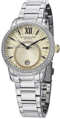 Stuhrling Original Sthrling Original Womens Crystal-Accent Gold-Tone Dial Bracelet Watch