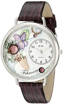 Whimsical Watches Unisex U0910002 Imitation Birthstone: February Purple Leather Watch