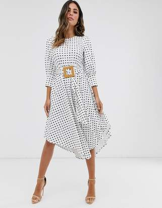 Asos Design DESIGN printed midi tea dress with asymmetric skirt and woven buckle