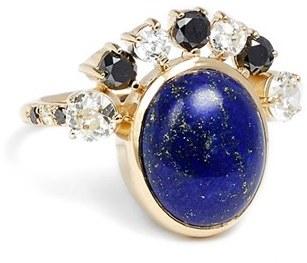 Women's Mociun Diamond & Lapis Cabochon Ring $4,922 thestylecure.com