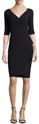 La Petite Robe di Chiara Boni Florien 3/4-Sleeve Jersey Faux-Wrap Dress $630 thestylecure.com