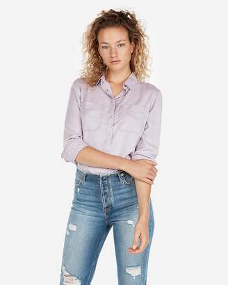 Express Snap Front Silky Soft Twill Shirt