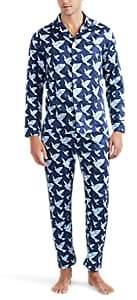 Maison Marcy Men's Magritte Cotton Satin Slim Pajama Set - Blue Pat.
