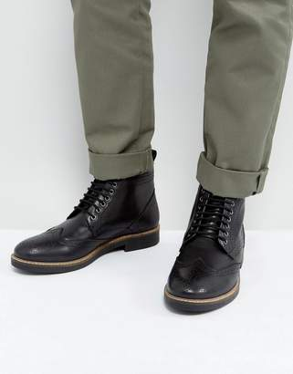 Frank Wright Brogue Boots Black Leather