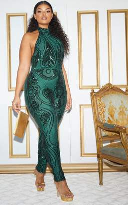 PrettyLittleThing Plus Emerald Green Sequin High Neck Jumpsuit