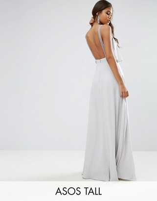 ASOS Tall ASOS TALL Embellished Strap Back Crop Top Maxi Dress $103 thestylecure.com