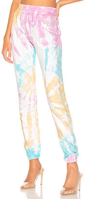 Frankie B. Kendall Crystals Stripe High Rise Sweatpant