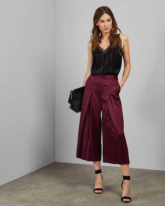 Ted Baker BELLLEE Satin pleated front culottes