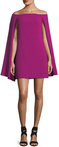 Trina Turk Crepe Off-the-Shoulder Cape Dress