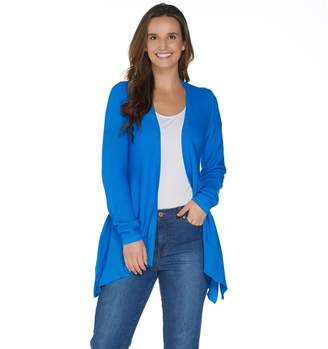 Halston H By H by Long Sleeve Handkerchief Hem Open Front Cardigan