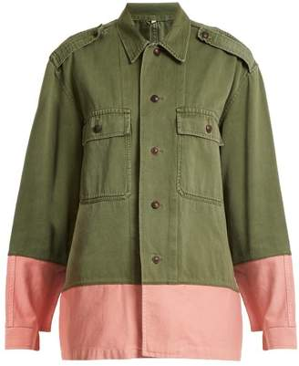 Myar - Hungarian Contrast Colour Military Jacket - Womens - Khaki Multi