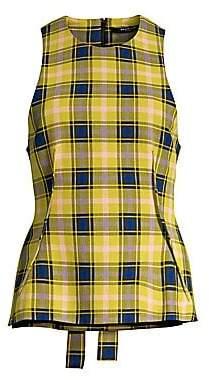 Derek Lam Women's Plaid Wool-Blend Tie-Back Top
