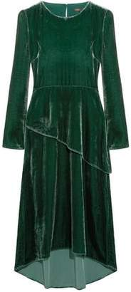 Maje Remanio Layered Velvet Midi Dress