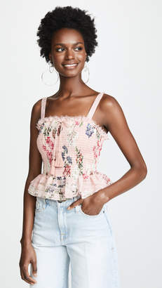 Nicholas Lilac Floral Shirred Crop Top