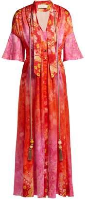 Peter Pilotto Tassel-trimmed floral-print stretch-silk dress