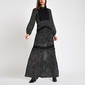 River Island Black print lace insert maxi dress