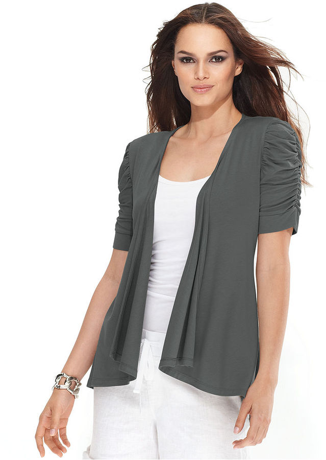 INC International Concepts Cardigan, Ruched-Sleeve Draped