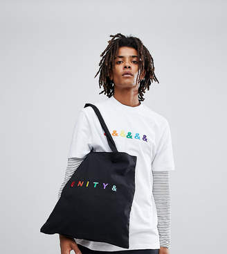 Asos DESIGN x glaad& tote bag with unity embroidery in black
