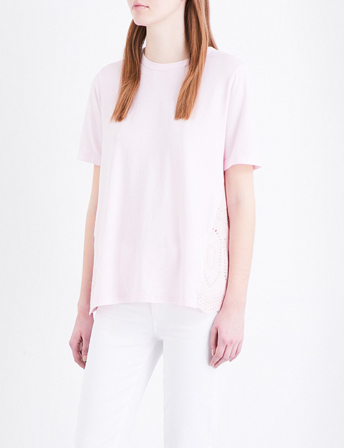 CluClu Broderie anglaise cotton-jersey T-shirt