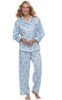 Miss Elaine Petite Essentials Satin Shirt & Pants Pajama Set