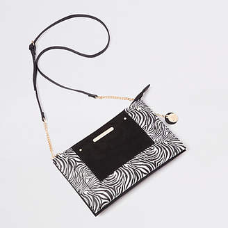60938196a0d6 River Island Womens Black zebra print cross body pouch bag