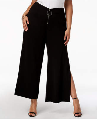 NY Collection Plus Size Zip-Front Wide-Leg Pants
