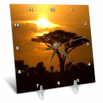 3dRose Thorn Acacia Umbrella Tree on African Plains at Sunset Tropical Night Scene, Desk Clock, 6 by 6-inch