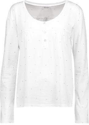 Bodas Metallic Polka-Dot Cotton-Jersey Pajama Top